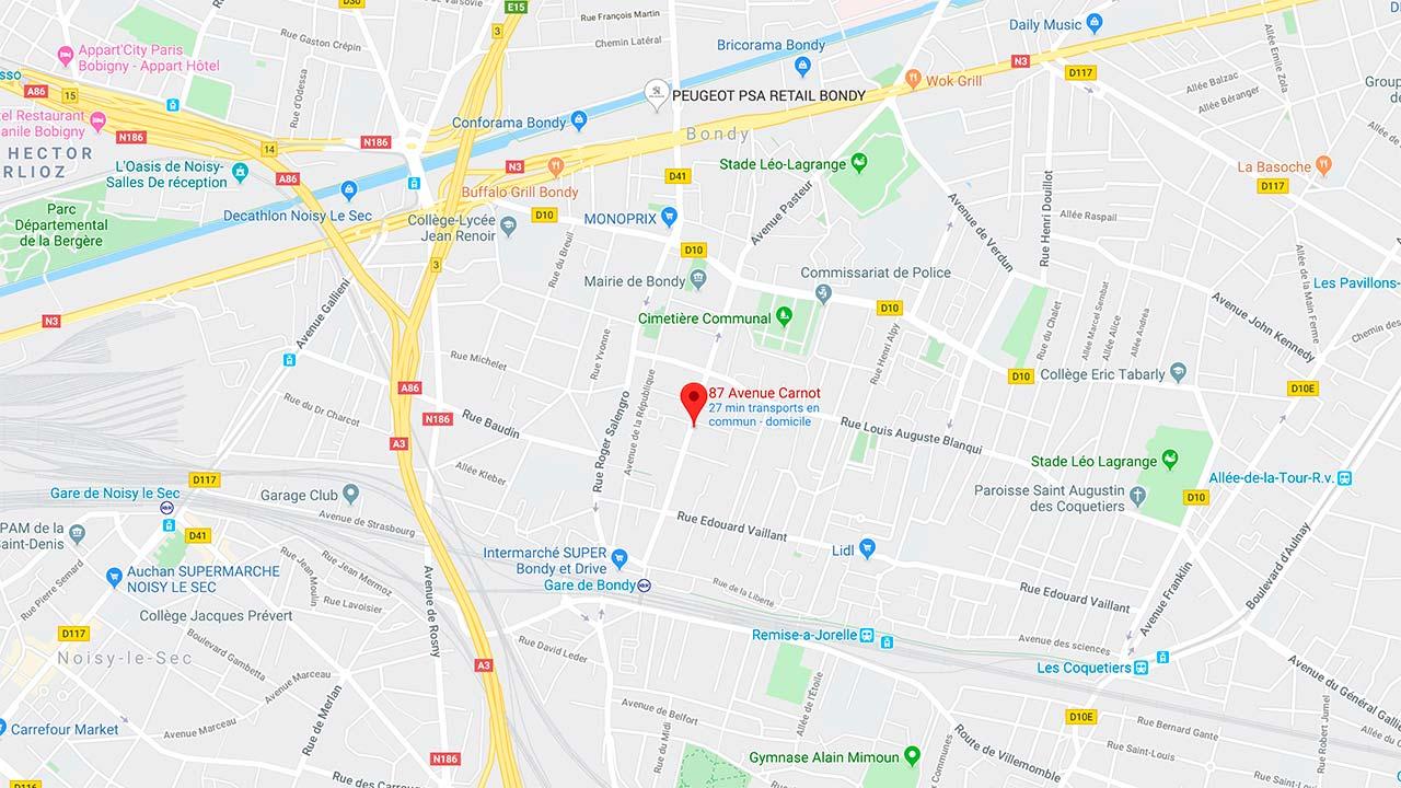Plan de localisation du cabinet de kinésithérapie, Biokionergie et thérapie manuelle de Fadila Ouzlifi à Bondy (Paris-Est)
